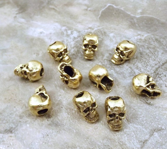10 Gold Tone Pewter Skull Beads with Vertical Hole - 5111