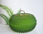 Frosted Green Heavy Cut Glass Candy Dish