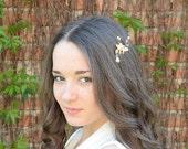 Grecian hair piece, Gold leaf comb, Bridal hair comb, crystal hair comb, prom, bridal hair jewelry, wedding freshwater pearls headpiece