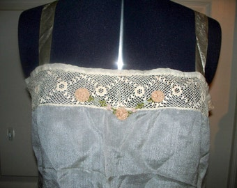 Edwardian Silk Corset Cover Camisole - White - Crochet Lace with Pink Flowers
