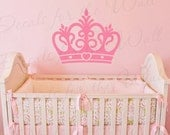 Princess Crown Wall Decal Vinyl Queen Castle Nursery Girl Room Playroom Sticker Art Large Decoration Sign Graphic Decor Mural G62