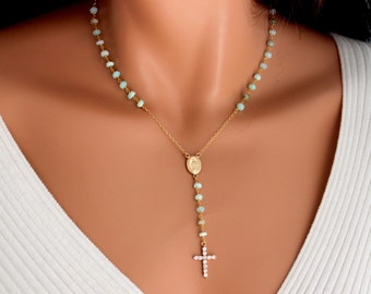 Peruvian Blue Opal Rosary Necklace Womens  Gold Filled Crystal Cross Mint Aqua Miraculous Spiritual Y Necklaces Jewelry Gift for her