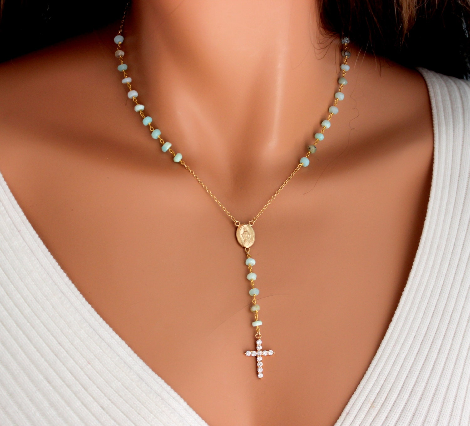 Crucifix Necklace Womens: Peruvian Blue Opal Rosary Necklace Womens Gold Filled Crystal