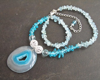 Chunky Statement Necklace, Agate Druzy Crystal Pendant, Aquamarine Gemstones, Natural Stone, Semi Precious, March Birthstone   201