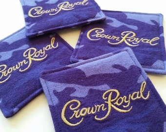 Camo Crown Royal Fabric Coasters Set of 4, Gifts under 20, Anniversary Gift, Gifts for Guys, Etsy Dudes, Man Cave Decor, Support Our Troops