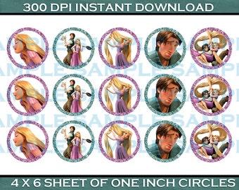 Bottle Cap Image Sheet - Tangled Rapunzel Themed Bottle Cap Images - 1 Inch Bottle Cap Image Sheet - Printable Instant Download