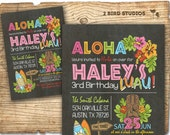Hawaiian birthday invitation - Luau birthday invitation - Hawaiian Luau party invite - Summer birthday party invitation - Chalkboard DIY