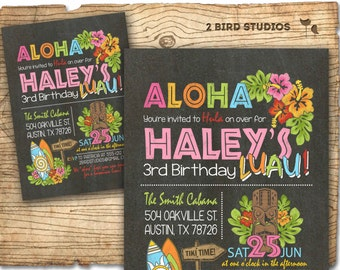 Hawaiian birthday invitation - Luau birthday invitation - Hawaiian Luau party invite - Summer birthday party invitation - Chalkboard DIY