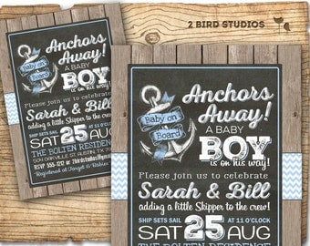 Ahoy it's a boy invitation - Nautical baby shower invitation -  Sailor baby shower - Rustic chalkboard boy baby shower invitation - DIY