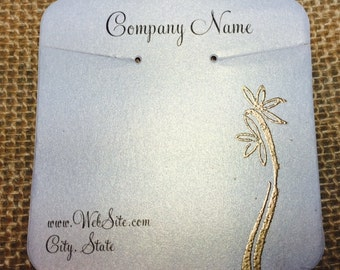 20 Elegant Flora Flower Necklace Display Cards - Hand Stamped & Embossed, Customize Any Embossing Color (Silver, Bronze, misc)