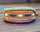 Beaded Leather Wrap Bracelet 5 Wrap with Blue Toned Turquoise Czech Glass Beads with Gold and Silver Nuggets on Genuine Natural Tan Leather