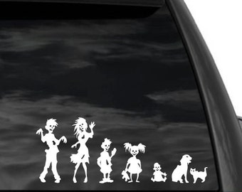 """Funny Stick Figure Family ZOMBIES Decal 10"""" x 4"""" in white"""