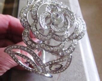 Vintage Rose Rhinestone Hinged Clamper Bracelet in Silver Setting, Bridal, Bridesmaid, Wedding, Mother of Bride, Statement Bracelet