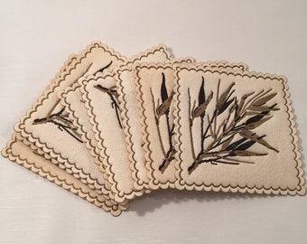Vintage Square Paper Bar Coasters with Bamboo Imprint