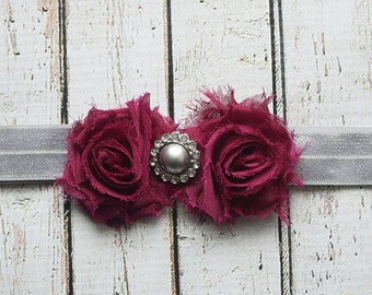 Christmas Wine Shabby Chic Headband, Newborn Headband, Adult Headband, Infant Headband