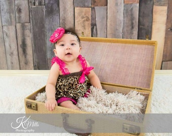 Hot Pink Cheetah Satin & Lace 2 pc Petti Romper, Lace Romper, First Birthday Outfit, Girls Romper, Baby Romper