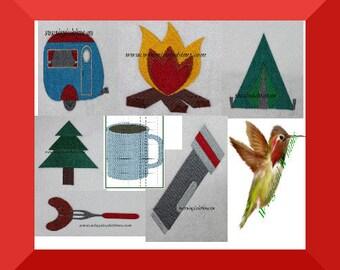 Camping Set of  Machine Embroidery Design Camp Tent Camper