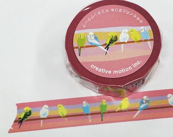 Creative Motion Budgerigar Budgie Parakeet Japanese Washi Tape Masking Tape Paper Tape Buy other items together for BETTER price.