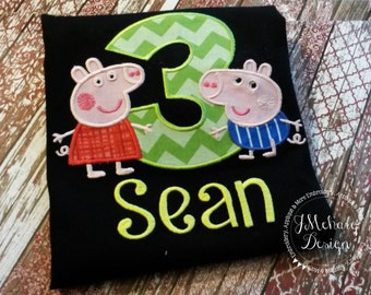 Peppa Pig & George Pig Birthday Custom Tee Shirt - Customizable -  Infant to Youth 270