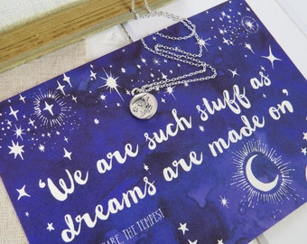 Shakespeare Moon And Stars Necklace - Silver Moon Necklace - Star Jewellery - Literature Gift for Book Lover-  Literary Quote Necklace