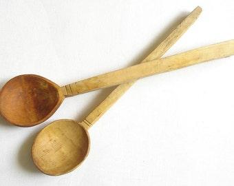 2 Antique Primitive Wooden Spoons Handmade