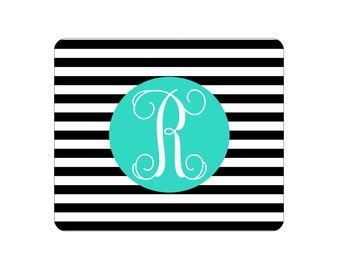 Monogrammed Stripe Print Mouse Pad