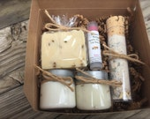 Lavender Spa Gift Set, New Mom Bath Set, Soap Gift Set with Soap, Lotion, Sugar Scrub, Bath Salts and Lip Balm