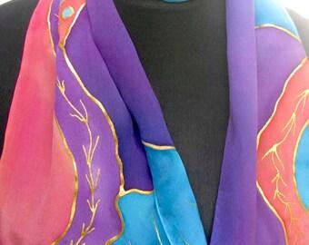 Silk Crepe Scarf, Hand Painted, Purple, Turquoise, Blue