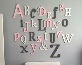 Wooden Alphabet Letters, Wooden Wall Letters, Wooden Letters for Nursery, Painted Wood Letters, Wooden Alphabet Set, Nursery Decor