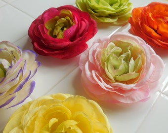 Hair Flower Clips, Set of Two Hair Flowers, Pink, Green, Purple, Rose, Yellow, Orange, Flowers, Hair Accessories, Women's Gift