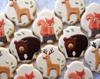 Elegant Woodland Animal Cookies with Red Fox- One Dozen  Decorated Sugar Cookies