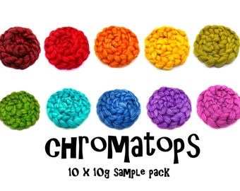 Blended merino wool roving - tops - selection pack - 10 x 10g samples - 100g - 3.5oz pack - CHROMATOPS