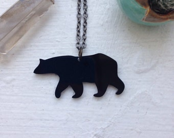 Bear Pendant Outline Silhouette Necklace