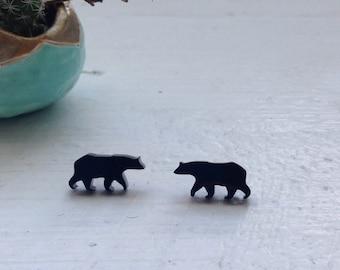 Bear Silhouette Animal Post Stud Earring
