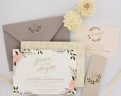 Wedding InvitationsWedding Invitations, Garden Wedding Invitations, Urban Chic, Sweet, Romantic, Floral, Calligraphy - Spring Garden Sample