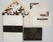 Floral Wedding Invitation Suite, Gold and Blush, Modern Wedding Invitation with RSVP - Geo Floral Wedding Invitation | Deposit