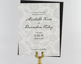 Save the Date Cards, Save the Date Wedding, Elegant Wedding, Classic Save the Date, Romantic - Classic Lace Save the Date Card
