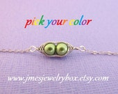 Two peas in a pod bracelet - Choose your color! Made to order