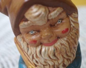 Small Vintage 1970s Ceramic Standing Garden Gnome Elf Figurine Statue