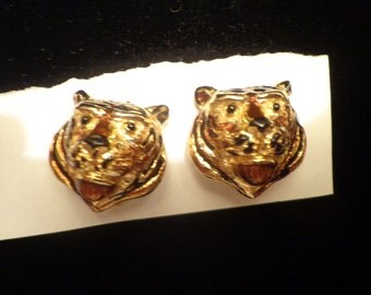 Great MIMI Di N enamel and gold Tiger earrings