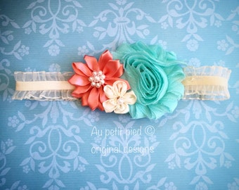 Ivory coral and seafoam flower headband for baby and toddler flower girl headband baby headpiece newborn photo prop