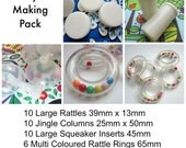 Toy Noise Makers. DIY Pack. 40pcs. 10 each - Large Squeakers and Rattle Inserts, Jingle Columns, Rattle Rings MULTI COLOURED.
