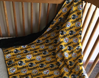"NFL cotton/minky blanket  42x36"""