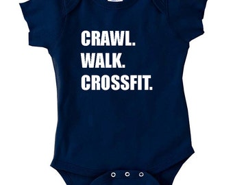CRAWL WALK CROSSFIT one piece cute funny adorable bodysuit baby shower baby boy gym weights lifting cute creeper