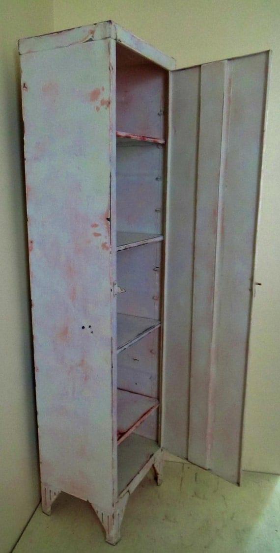 Vintage Distressed Metal Locker Pantry Storage Cabinet Shabby