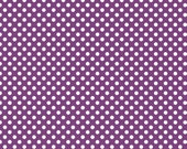 Purple Fabric/ White Polka Dot Fabric/Riley Blake/Cotton Sewing Material/Quilting and Clothing and Crafts/Fat Quarter,By The Yard