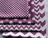 Purple and White Fabric Bundle /Riley Blake/Quilting, Clothing, Craft/Cotton Sewing Material/4 Fat Quarters/Chevron Fabric, Polka Dot Fabric