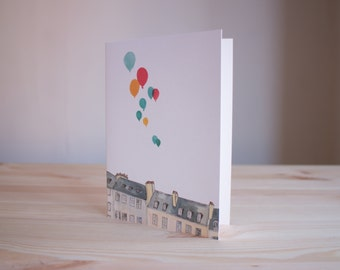 Buildings & Balloons  - Greetings Card