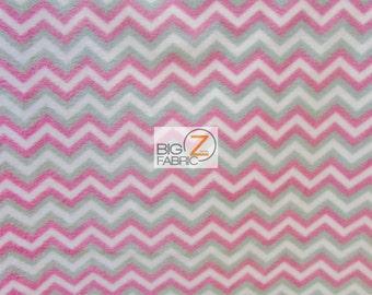 "Chevron Zig Zag Fleece Printed Fabric - Gray/White/Fuchsia - Sold By The Yard 60"" Width (900)"