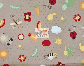 "100% Cotton Fabric By DV Studios For Sea Imports - Garden Patch Dark Khaki  - 45"" Width Sold By The Yard (FH-1801)"